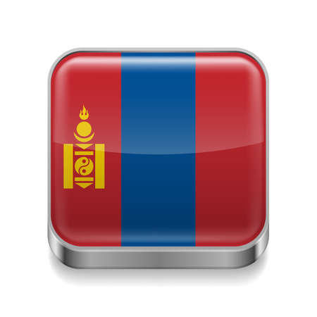 Metal square icon with Mongolian flag colors Vector