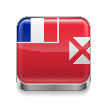 wallis: Metal square icon with flag colors of Wallis and Futuna Illustration
