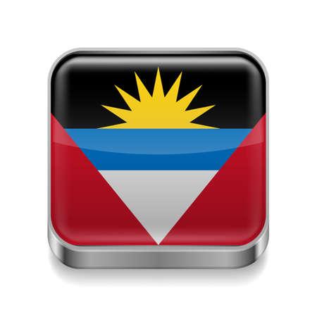 antigua flag: Metal square icon with flag colors of Antigua and Barbuda Illustration