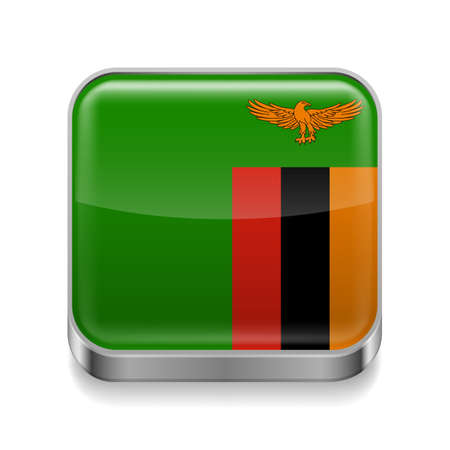zambian flag: Metal square icon with Zambian flag colors