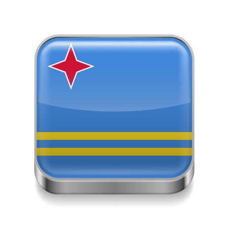 Metal square icon with flag colors of Aruba Stock Vector - 27239800