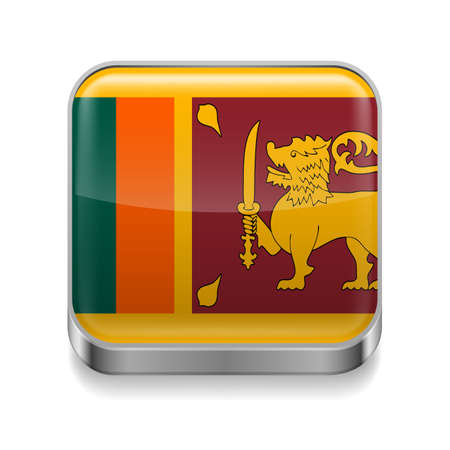 Metal square icon with flag colors of Sri Lanka Vector