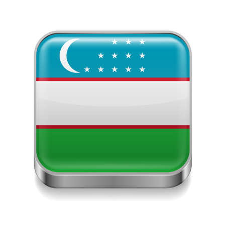 Metal square icon with Uzbek flag colors Vector