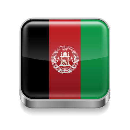 afghan flag: Metal square icon with Afghan flag colors