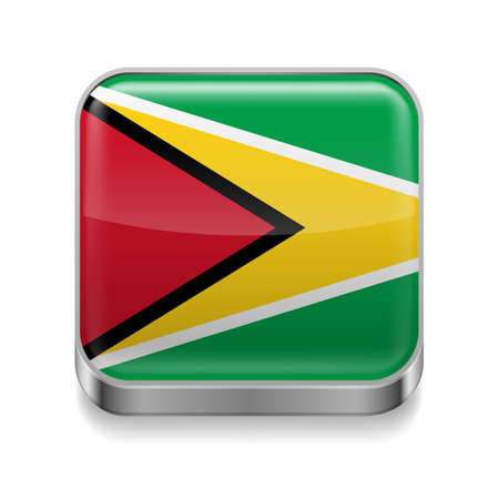 guyanese: Metal square icon with Guyanese flag colors