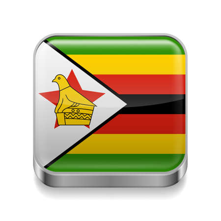 Metal square icon with Zimbabwean flag colors Vector