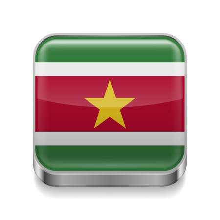 suriname: Metal square icon with flag colors of Suriname Illustration