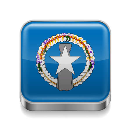mariana: Metal square icon with flag colors of Northern Mariana Islands