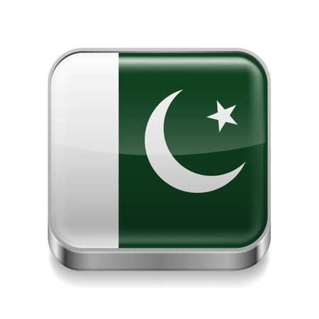 Metal square icon with Pakistani flag colors Vector