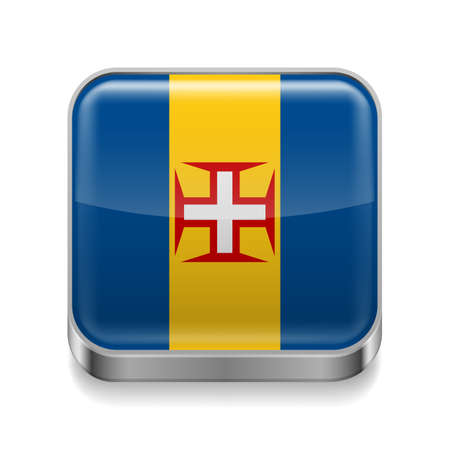 madeira: Metal square icon with flag colors of Madeira
