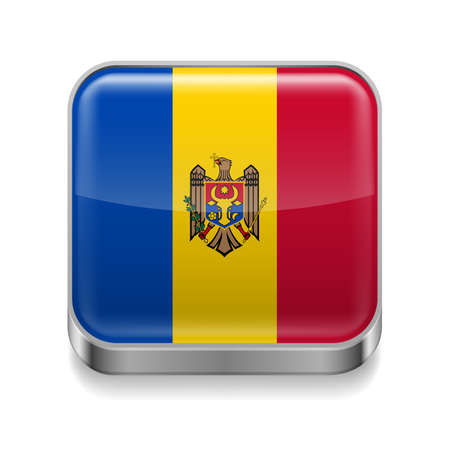 moldovan: Metal square icon with Moldovan flag colors