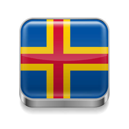 Metal square icon with flag colors of Aland Islands Vector