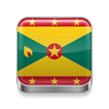 grenada: Metal square icon with flag colors of Grenada Illustration