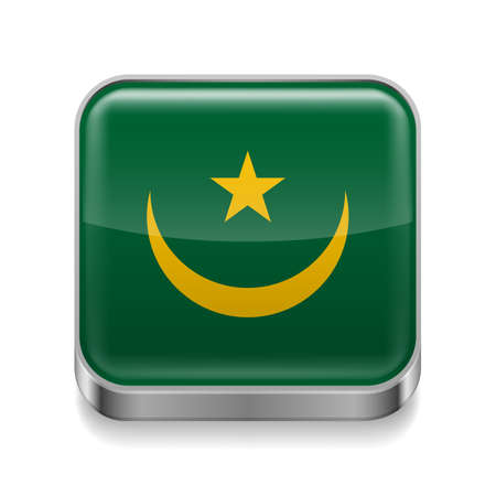 Metal square icon with Mauritanian flag colors Vector