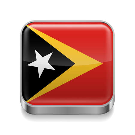 Metal square icon with flag colors of East Timor Vector