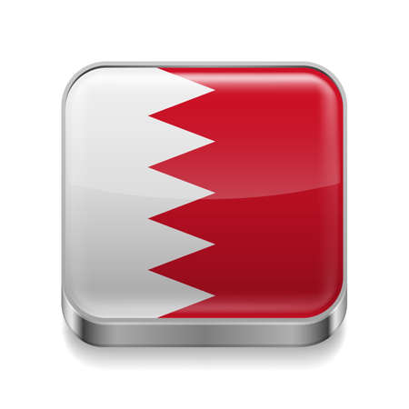 island state: Metal square icon with flag colors of Bahrain