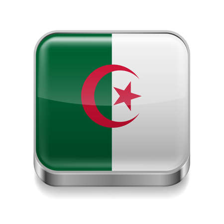 Metal square icon with Algerian flag colors Vector