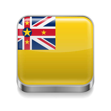 niue: Metal square icon with flag colors of Niue Illustration
