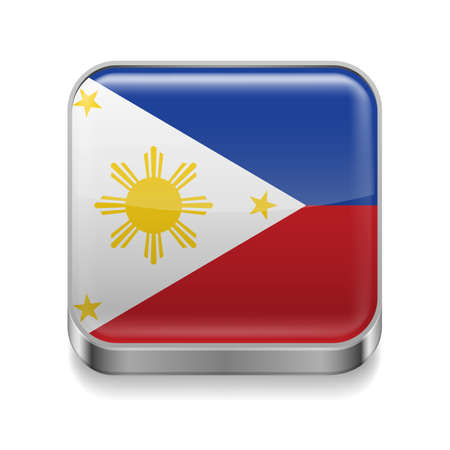 Metal square icon with flag colors of Philippines Vector