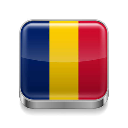 chadian: Metal square icon with Chadian flag colors