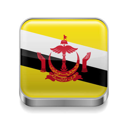 Metal square icon with flag colors of Brunei Vector
