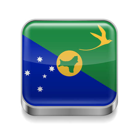 Metal square icon with flag colors of Christmas Island Vector