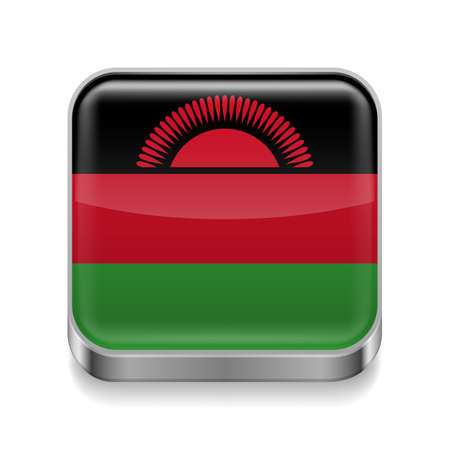 malawian flag: Metal square icon with  Malawian flag colors