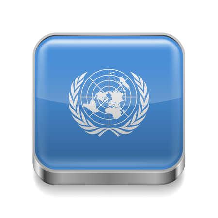 nações: Ícone quadrado de metal com design da bandeira das Nações Unidas