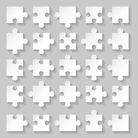 brain puzzle: Set of blank white puzzle pieces on grey background