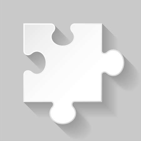 Illustration of white puzzle element with long shadow on grey background Vector