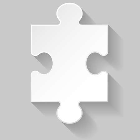 White puzzle piece with long shadow on grey background Vector