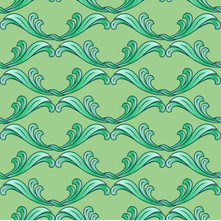Abstract green background with ornate floral elements