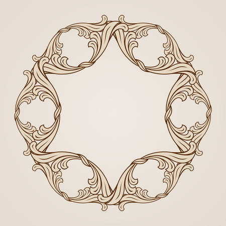 symmetric: Decorative floral element. Illustration in light and dark brown colors