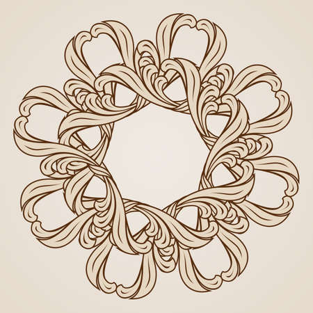 curlicue: Abstract floral pattern. Illustration in light and dark brown colors Illustration