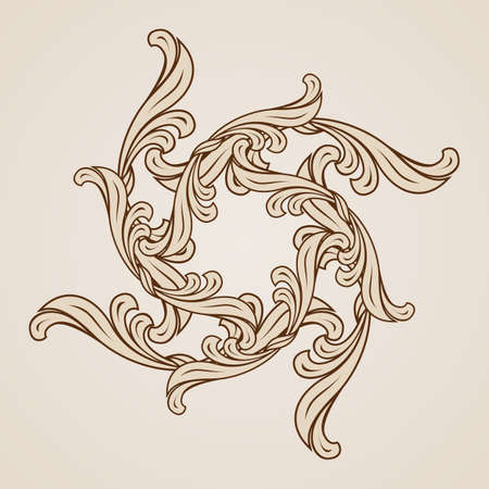symmetric: Illustration of ornate floral pattern in light and dark brown colors