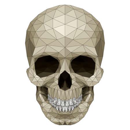 horrid: Mosaic skull image. Illustration on white background