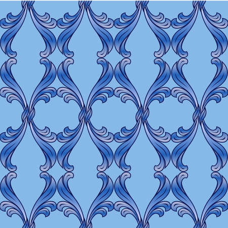 Abstract background with floral pattern in blue shades Vector