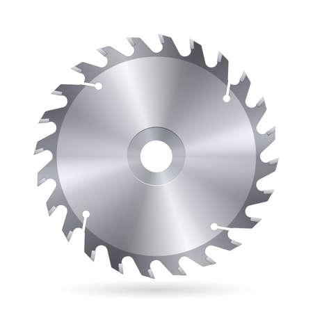 白い背景の上の円の鋸の金属の刃
