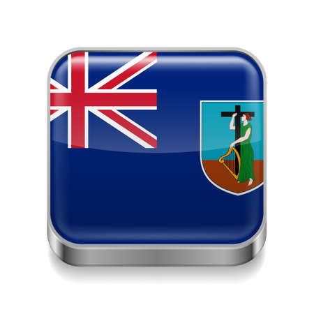 Metal square icon with flag colors of Montserrat Stock Vector - 27437915