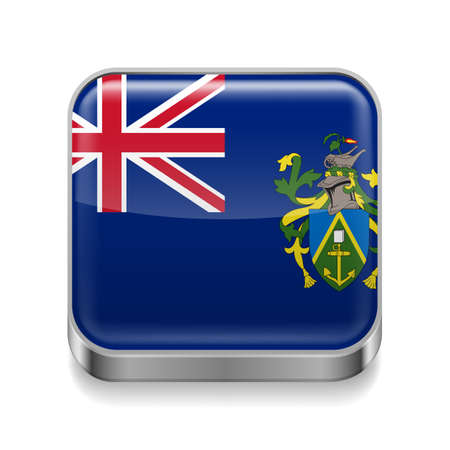 pitcairn: Metal square icon with flag colors of Pitcairn Islands