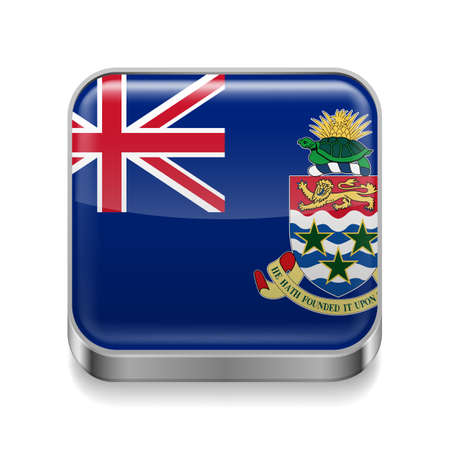 cayman: Metal square icon with flag colors of Cayman Islands Illustration