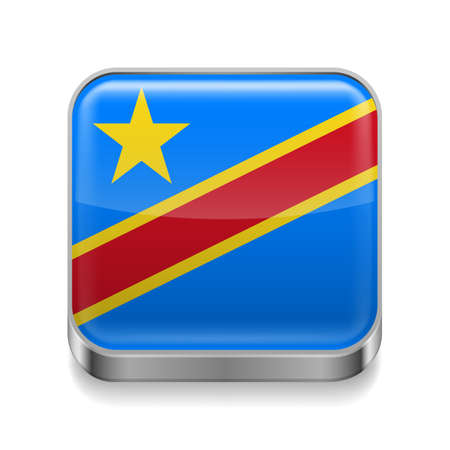 republic of the congo: Metal square icon with flag colors of Democratic Republic of the Congo