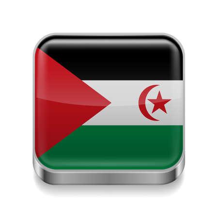 sahrawi arab democratic republic: Metal square icon with flag colors of Sahrawi Arab Democratic Republic