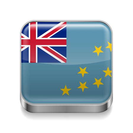tuvalu: Metal square icon with Tuvalu flag design