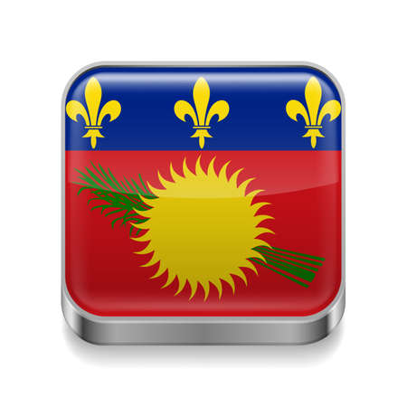 guadeloupe: Metal square icon with flag colors of Guadeloupe