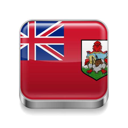 bermuda: Metal square icon with flag colors of Bermuda Illustration