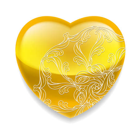 yellow heart: Glossy yellow heart with ornate decorative element on white background