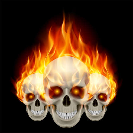 Three flaming skulls with fiery eyes Illustration on black background Vector