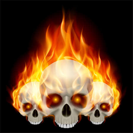 Three flaming skulls with fiery eyes on black background Vector