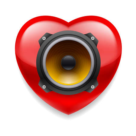 stereo subwoofer: Red glossy heart with loudspeaker Illustration